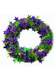 Purple, Green, and Gold Stars Mardi Gras Wreath