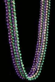 72in 16mm Metallic Purple/ Green/ Gold Rose Beads