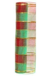 21in x 30ft Plaid Metallic Red/ Green Mesh Ribbon/ Netting