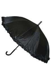 21in Long Nylon Black Umbrella with Frilly Edge
