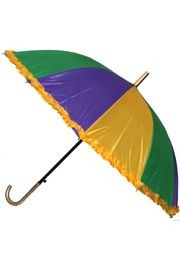 21in Long Nylon Mardi Gras Umbrella w/ Frilly Edge