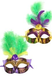 Mardi Gras Plastic Venetian Masquerade Mask with Glitter Accents and with Feathers