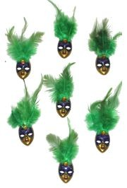 4in Tall x 1 1/4in Wide Purple/ Green/ Gold Plastic Doll Face Magnet w/Green Feathers