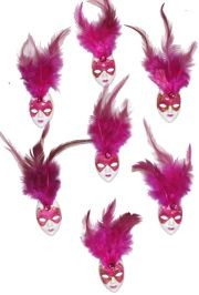White and Hot Pink Plastic Doll Face Pin with Hot Pink Feathers