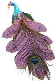 11in Long x 6in Wide Purple Glittered Peacock