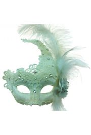 Venetian Macrame White Masquerade Mask with Rhinestones And Feathers