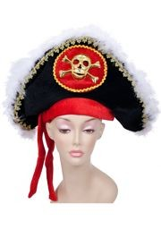 Deluxe Pirate Hat w/ White Feather And Gold Skull