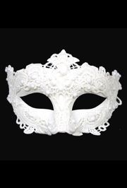 White Venetian Macrame Mask with Glitter Accents and with Rhinestones