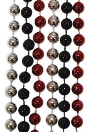 7mm 33in Red, Black, and Silver Mardi Gras Beads