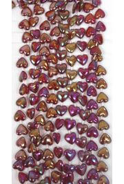 12mm 42in AB,Irridescent Burgundy Heart Beads