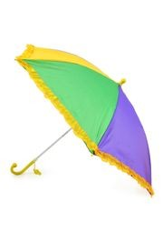18in long Nylon Mardi Gras Umbrella w/ Frilly Edge