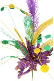 Purple/ Green/ Gold Mixed Feather And Flower Glitter Bush