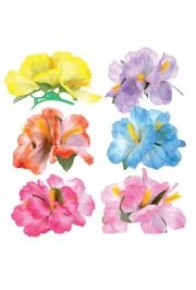 5 1/2in Assorted Colors Hibiscus Flower Hair Clips