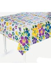 54in x 72in Plastic Hibiscus/ Luau/ Hawaiian Tablecloth