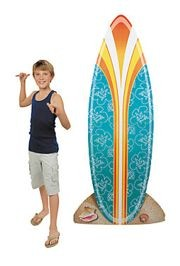 34in Wide x 6ft Tall Luau/ Hawaiian Cardboard Surfboard Stand-Up