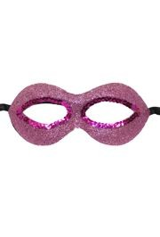 Fancy Pink Glitter Half Masquerade Mask with Sequins Around The Eyes