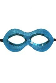 Fancy Turquoise and Teal Glitter Masquerade Half Mask with Sequins Around The Eyes