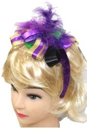 Mardi Gras Hairband w/ Feathers