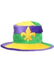 5in Tall Mardi Gras Brimmed Velvet Hat w/ Fleur De Lis