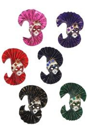 5in Tall x 4in Wide Assorted Colors Doll Face w/ Paper Fan Decoration w/ Magnet