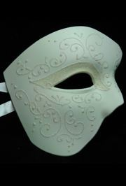 White Venetian Phantom Masquerade Mask With White Glittery Scrollwork