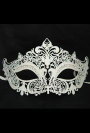 Venetian Metal Laser-Cut White Masquerade Mask with Rhinestones