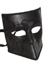 Black Venetian Man Masquerade Mask Full Face