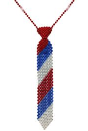 14in Red/ Blue/ Silver Beaded Necktie