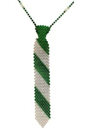 14in Green/ Silver Beaded Necktie