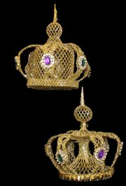 27d8365fa00e 8in Wide x 8 1 2in Tall Gold Metallic Glittered Crown w  Purple And