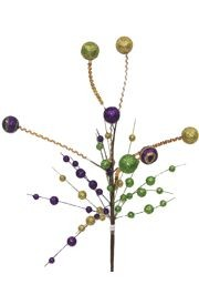 24in Tall Mardi Gras Glitter Ball/ Stripe Bush