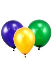 12in Metallic Purple Green Yellow Mix Latex Balloons
