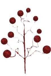 28in Glittered Red Balls Decorative Stem