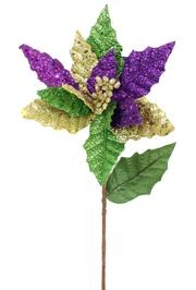 Purple, Green, and Gold Glittered Poinsettia Floral Pick