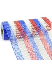 10in Wide x 30ft Long Deluxe Stripe Red/ White/ Blue Mesh Ribbon
