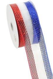 2.5in Wide x 75ft Long Metallic Red/ White/ Blue Stripe Mesh Ribbon