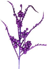 50in Tall Purple Glittered Berries Decorative Stem