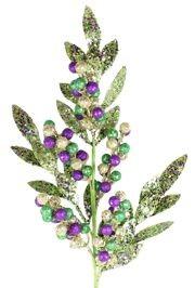 Mardi Gras Glittered Berries Decorative Stem