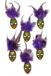 4in Tall x 1 1/4in Wide Purple/ Green/ Gold Plastic Doll Face Pin w/Purple Feathers