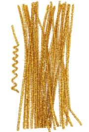 12in Long Gold Tinsel Wire Chenille Stems/ Pipe Cleaners
