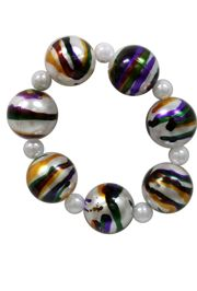 25mm Marble Pearl Bracelet w/ Purple/ Green/ Gold Accents