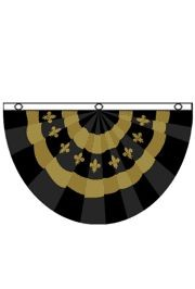 5ft x 3ft Polyester Black And Gold Bunting Flag With Fleur De Lis Design