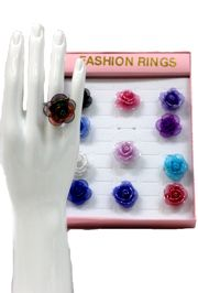 Assorted Colors Flower Rings