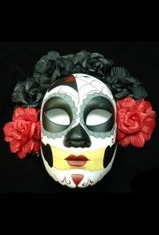 Day of the Dead Full Face Masquerade Mask with Flower Design Around The Top