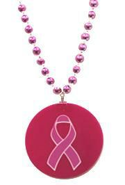 Printed Pink Ribbon Medallion Necklace