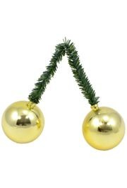6in Green Tinsel Ties with 50mm Gold Balls