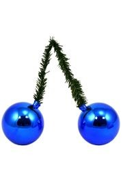 6in Green Tinsel Ties with 50mm Blue Balls