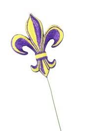 4in Long x 3in Wide Purple/ Yellow Fleur De Lis Pick