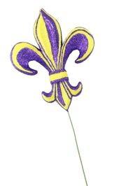 6in Long x 4in Wide Purple/ Yellow Fleur De Lis Pick