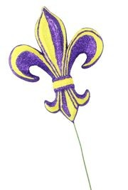 8in Long x 7in Wide Purple/ Yellow Fleur De Lis Pick